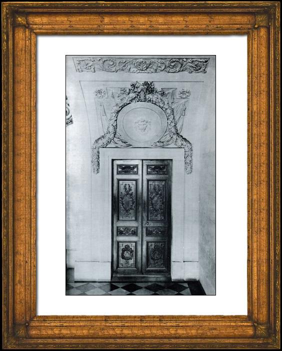 Gravures anciennes porte en bois sculpt voussure for Decoration porte ecole