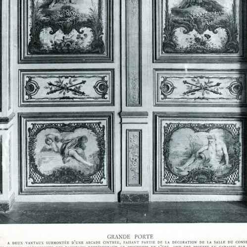 Gravures anciennes gravure de d coration porte salle du conseil all g - Peinture boiserie porte ...