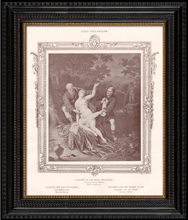 Antique Prints & Drawings | Female Nude - Erotica - Curiosa - Susanna and The Two Elders (Frans van Mieris de Oudere) | Engraving | 1898