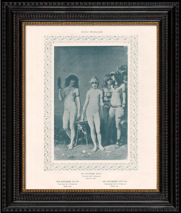 Gravures Anciennes & Dessins   Nu Artistique - Erotica - Curiosa - Egypte Antique - Les Mystères d'Isis (Coomans)   Gravure   1898
