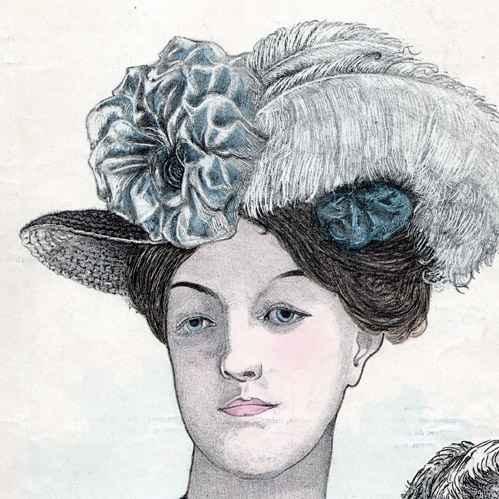 Gravures Anciennes | Mode Franu00e7aise - Paris - 1900 - Coiffure et Chapeau - Yolande - Cru00e9ation de ...