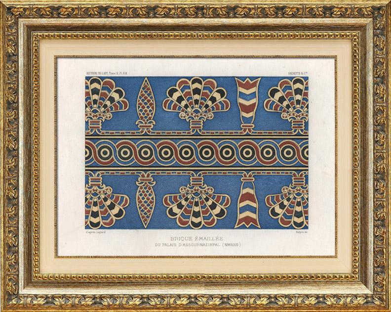 Stampe Antiche & Disegni   Mattone Smaltato nel Palazzo di Ashurnasirpal (Nimrud)   Cromolitografia   1882