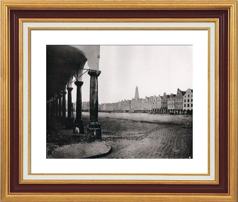 Gravures Anciennes & Dessins   Arras - La Grand'Place - Arcades - Colonnes - Style Baroque Flamand - XVIIème Siècle - Enseignes Sculptées (France)   Héliogravure   1910