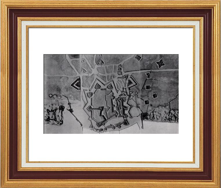 Gravures Anciennes & Dessins | Plan d'Ostende Après le Siège (1604) - Guerre de Quatre Vingts Ans - Révolte des Pays Bas | Héliogravure | 1910