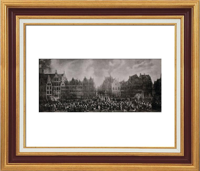 Gravures Anciennes & Dessins   Garde Bourgeoise sur la Place de Meir à Anvers en 1673 (van Eyck)   Héliogravure   1910