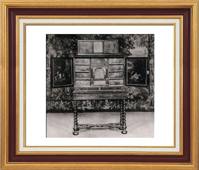 alte stiche antike m bel ebenholzschrank cabinet en eb ne avec inscrutations d 39 ecaille. Black Bedroom Furniture Sets. Home Design Ideas