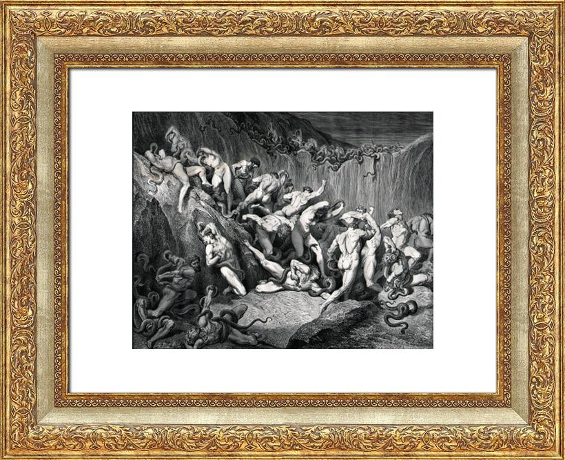 Gravures Anciennes & Dessins | L'Enfer de Dante 22 - Gustave Doré - La Divine Comédie - Les Voleurs Torturés par les Serpents - Nu Artistique | Gravure sur bois | 1860