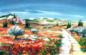 France - Landscape in Provence - Olive Trees - Poppy - Village in the Valley II