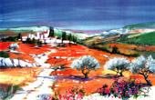 France - Landscape in Provence - Olive Trees - The Village in the Alpilles