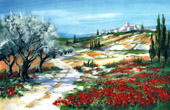France - Landscape in Provence - Olive Trees - Poppy Field - The Village in the Alpilles II