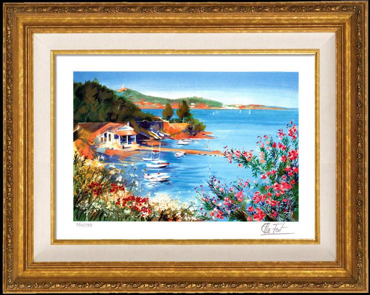 Grabados & Dibujos Antiguos | Francia - Provence - Paisaje de Provenza - Riviera Francesa - Marine - Puerto sobre el Mediterráneo | Litografía | 1990