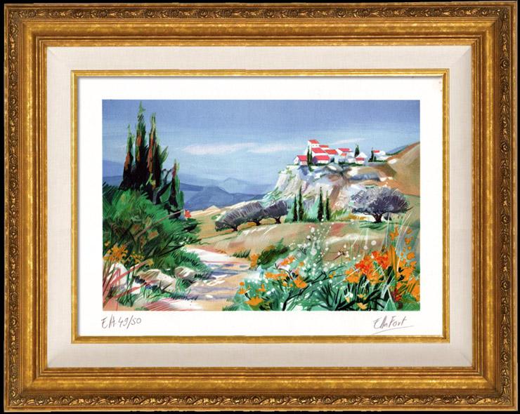 Gravures Anciennes & Dessins | France - Paysage de Provence - Alpilles - Village dans la Montagne | Lithographie | 1990