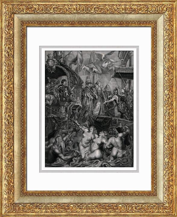 Gravures Anciennes & Dessins | Mythologie - Le Débarquement de Marie de Médicis au Port de Marseille - Neptune - Sirènes - Triton (Peter Paul Rubens) | Taille-douce | 1830