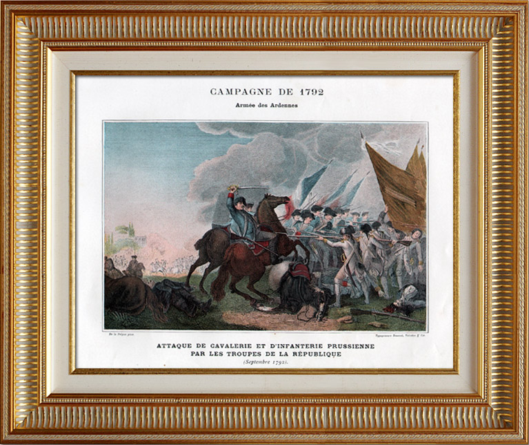Antique Prints & Drawings | Prussian Army vs French Army - Ardennes - Fights against the Prussian Cavalry - French Revolutionary Wars - 1792 | Typogravure | 1890