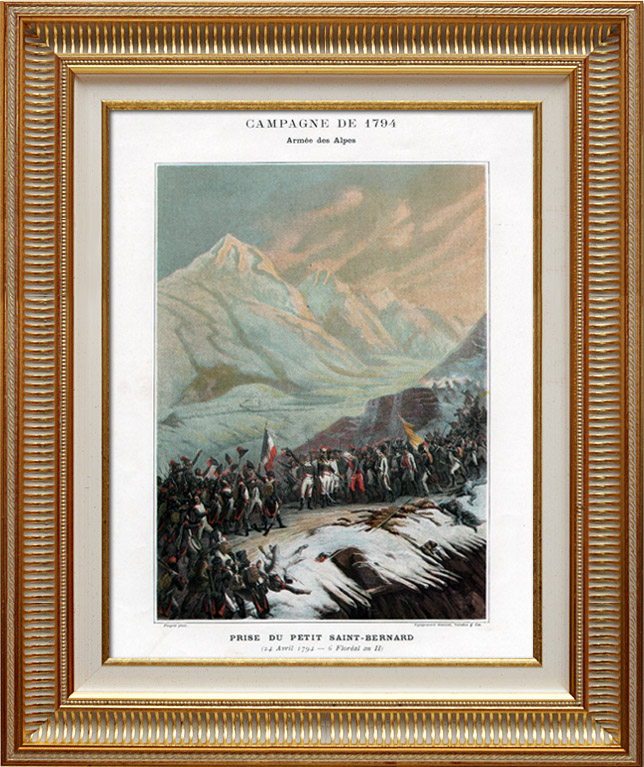 Antique Prints & Drawings   Piedmontese Army vs French Army - Alps - Battle of the Little St Bernard Pass - French Revolutionary Wars - 1794   Typogravure   1890