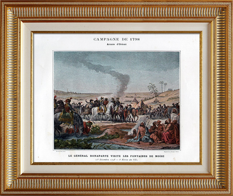 Antique Prints & Drawings   Napoleonic Campaign in Egypt - Ottoman Empire - General Napoleon Bonaparte Visits the Fountains of Moses - French Revolutionary Wars - 1798   Typogravure   1890
