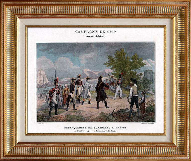 Gravures Anciennes & Dessins | Campagne d'Égypte - Débarquement de Bonaparte à Fréjus - Napoléon Bonaparte - Guerres Napoléoniennes - 9 Octobre 1799 | Typogravure | 1890