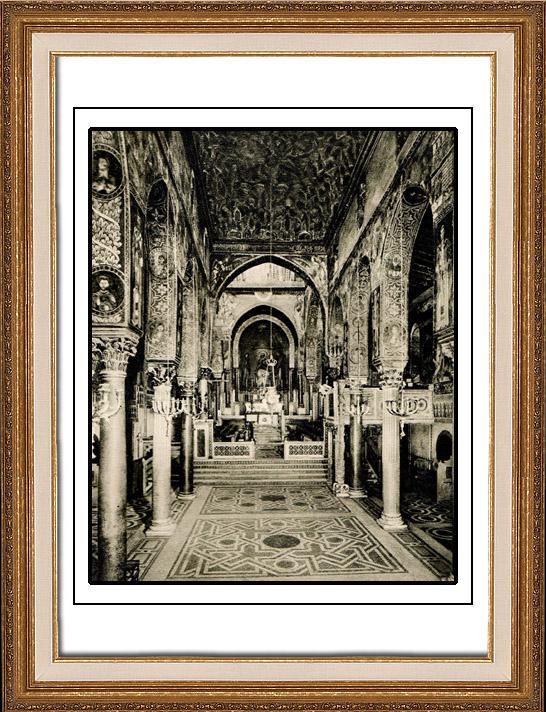Gravures Anciennes & Dessins | Chapelle Palatine - Palais des Normands - Cappella Palatina - Palazzo dei Normanni - Palerme - Sicile (Italie) | Héliogravure | 1920