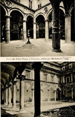 Antique print - Courtyard of Palazzo Vecchio in Florence - Palazzo Ducale in Urbino - Porphyry Fountain by Battista del Tadda - Arcaded Courtyard  (Italy)