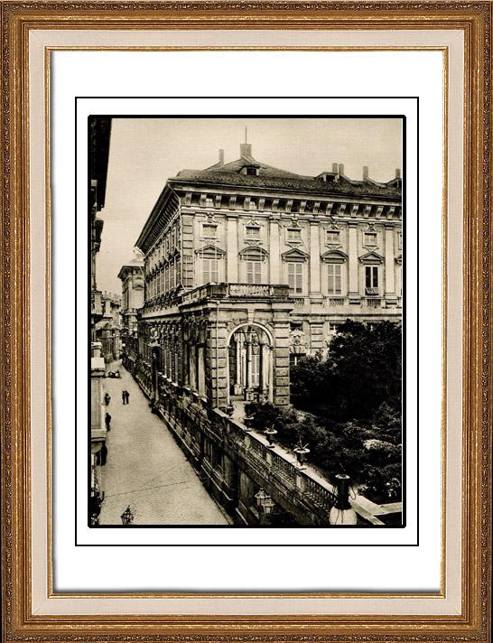 Gravures Anciennes & Dessins | Palais Doria Tursi à Gênes - Palazzo Niccolò Grimaldi - Arcades et Balustrades de Taddeo Carlone (Italie) | Héliogravure | 1920