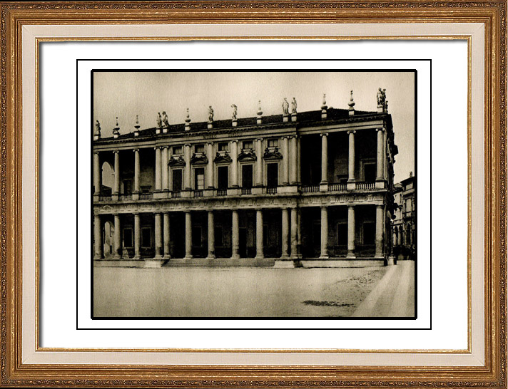 Antique Prints & Drawings | Palazzo Chiericati in Vicenza - Renaissance Palace - Onamental Ceilings - Doric and Ionic Columns (Italy) | Heliogravure | 1920