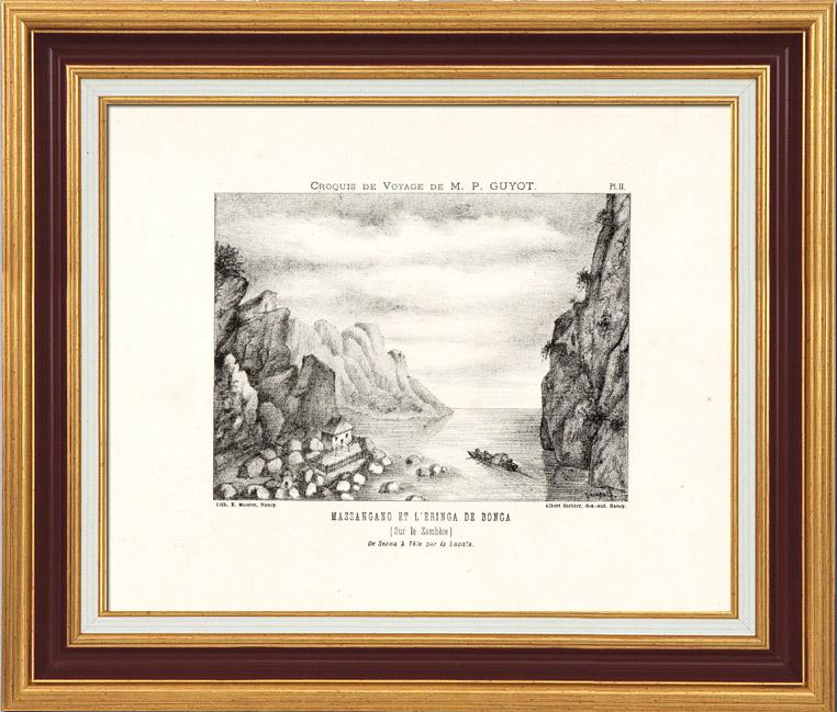 Gravures Anciennes & Dessins | Afrique - Angola - Fleuve Zambèze - Zambèse - Massangano et l'Eringa de Bonga | Lithographie | 1890