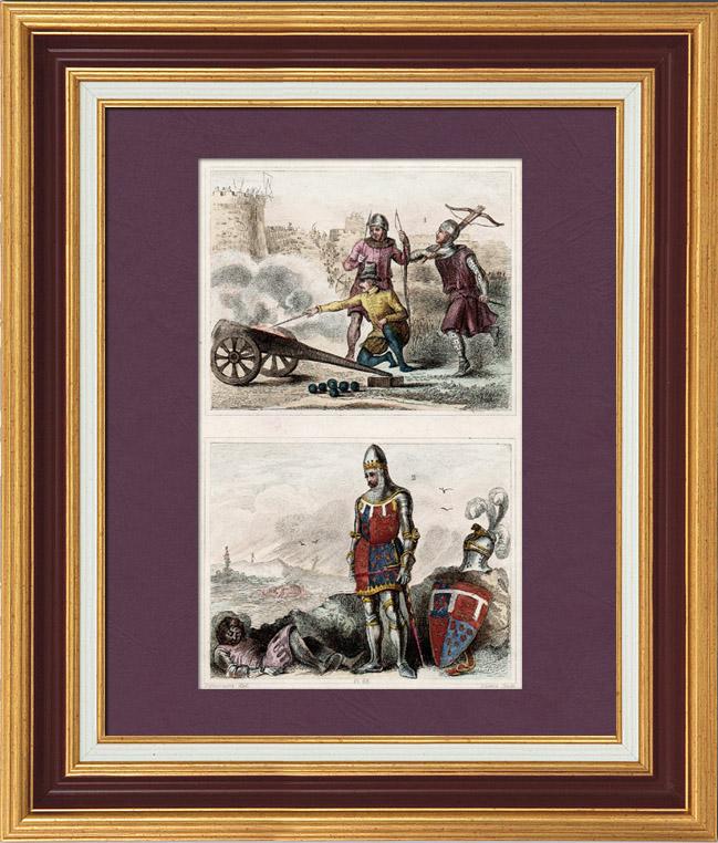 Gravures Anciennes & Dessins | Soldats Anglais - Uniforme Militaire - Le Prince Noir - Édouard de Woodstock - Angleterre - Arbalète (14ème Siècle - XIVème Siècle) | Taille-douce | 1840