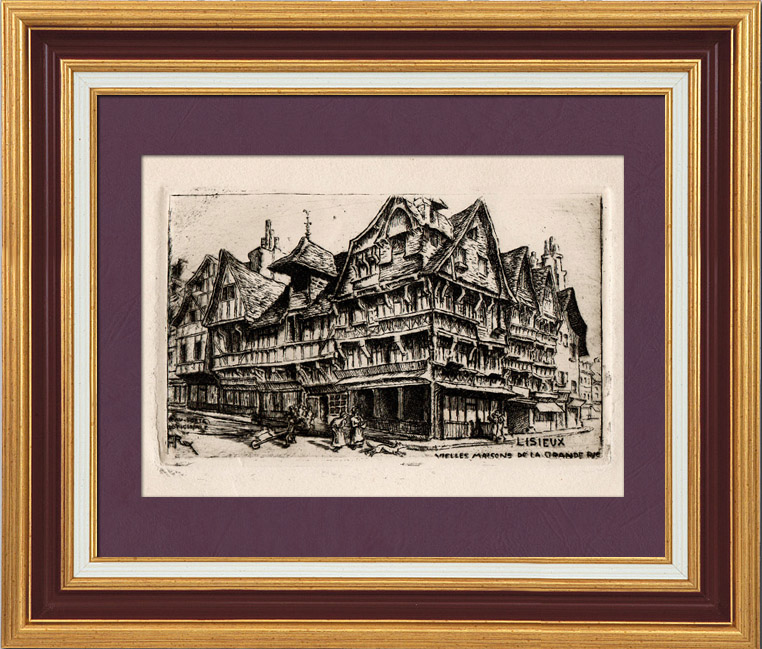 Antique Prints & Drawings   View of Lisieux - Calvados - Old Houses (France)   Strong water etching   1900
