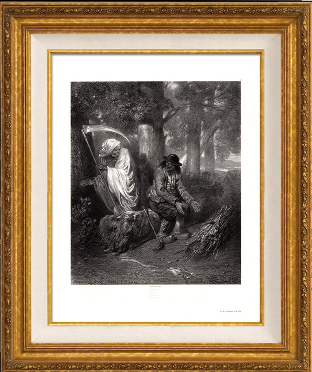 Gravures Anciennes & Dessins | Faucheuse - Ange de la Mort - La Mort et le Bûcheron (Jean de La Fontaine) | Lithographie | 1850