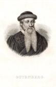 Grabado antiguo - Retrato de Gutenberg - Inventor de la Imprenta