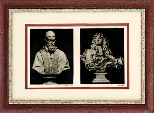 Gravures Anciennes & Dessins | Sculpture Italienne - Buste d'Innocent X - Buste de Louis XIV de France (Le Bernin - Gian Lorenzo Bernini) | Héliogravure | 1920