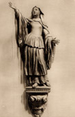Belgian Sculpture - Wood Statue - Gertrude of Nivelles (Laurent Delvaux)