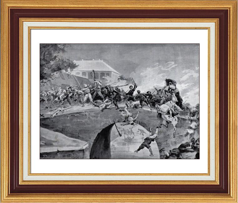 Gravures Anciennes & Dessins | Révolte des Boxers - Chine - Pékin - Bataille du Pont des Légations | Typogravure | 1900