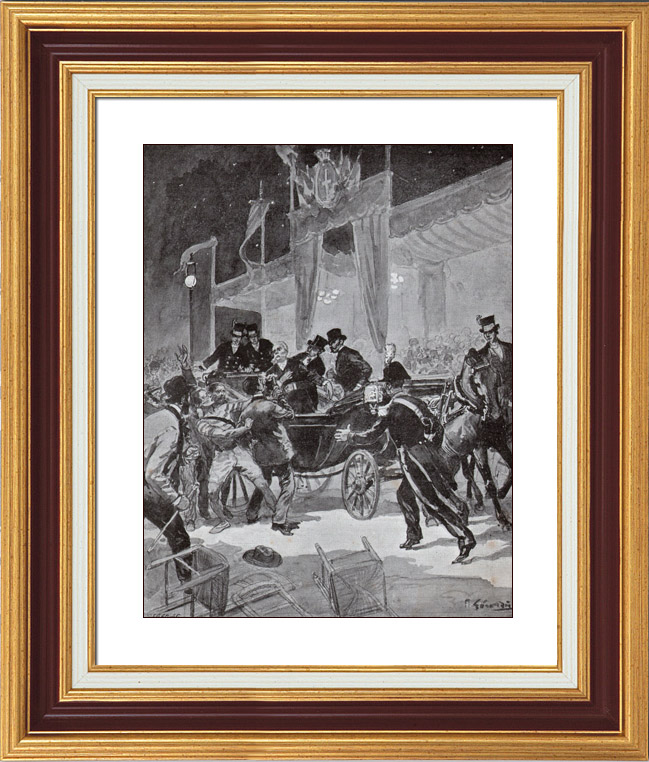 Antique Prints & Drawings | Assassination of Umberto I of Italy in Monza (Palestra) | Typogravure | 1900