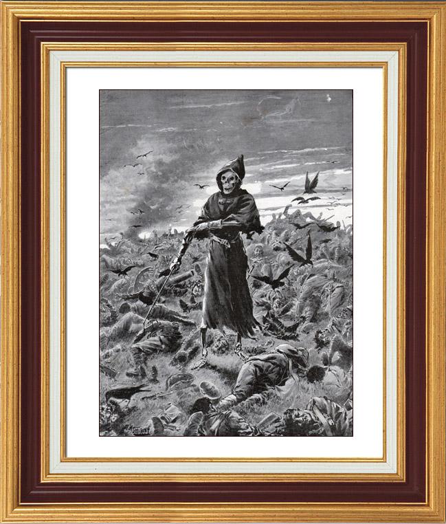 Gravures Anciennes & Dessins | Guerre des Boers - Guerre du Transvaal - La Dernière Page du Siècle - Quand donc Finira le Massacre ? | Typogravure | 1900