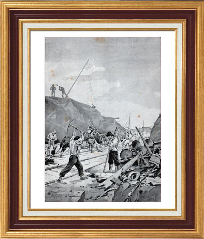 Gravures Anciennes & Dessins   Guerre des Boers - Guerre du Transvaal - Boers Détruisant le Chemin de Fer à Kronstadt   Typogravure   1900