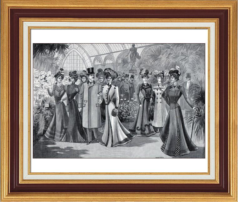 Antique Prints & Drawings | French Fashion Plate - French Fashion Print - Paris - 1900 - L'Exposition des Chrysanthèmes | Typogravure | 1900