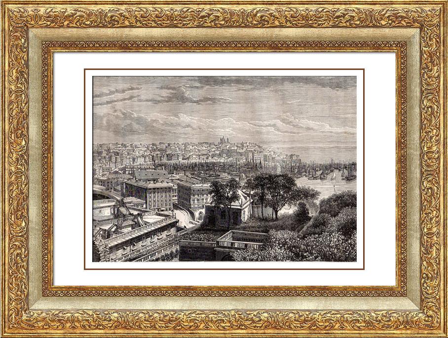 Gravures Anciennes & Dessins   Vue de Gênes (Italie)   Gravure sur bois   1875