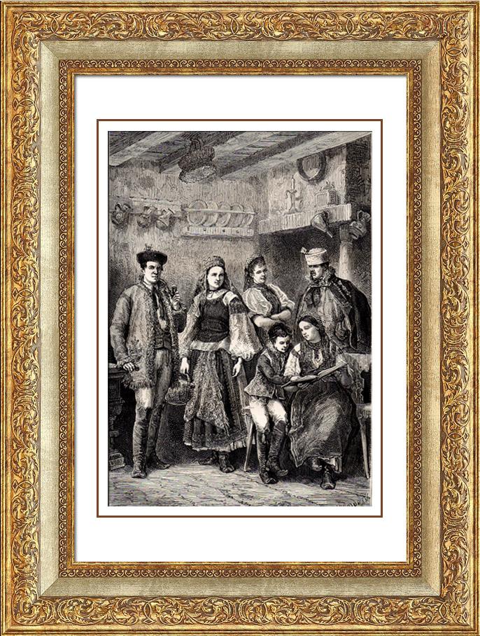 Gravures Anciennes & Dessins   Costume Typique Hongrois - Hongrie   Gravure sur bois   1875