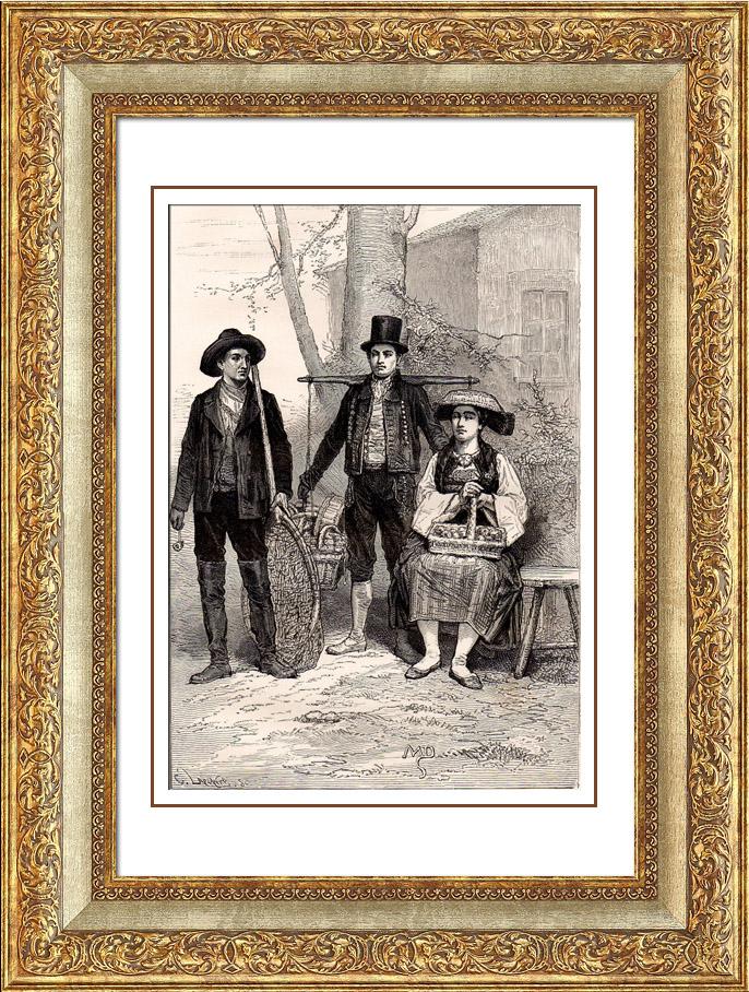Antique Prints & Drawings | German Typical Costume - Vierlander - Hamburg - Germany | Wood engraving | 1875