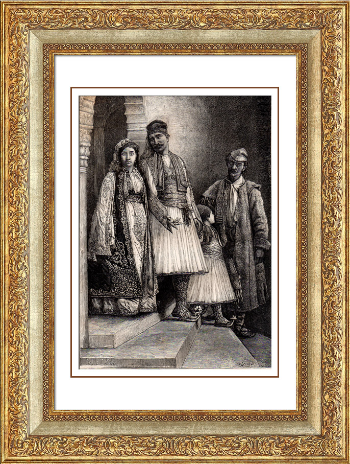 Antique Prints & Drawings | Albanian Typical Costume - Albania | Wood engraving | 1875