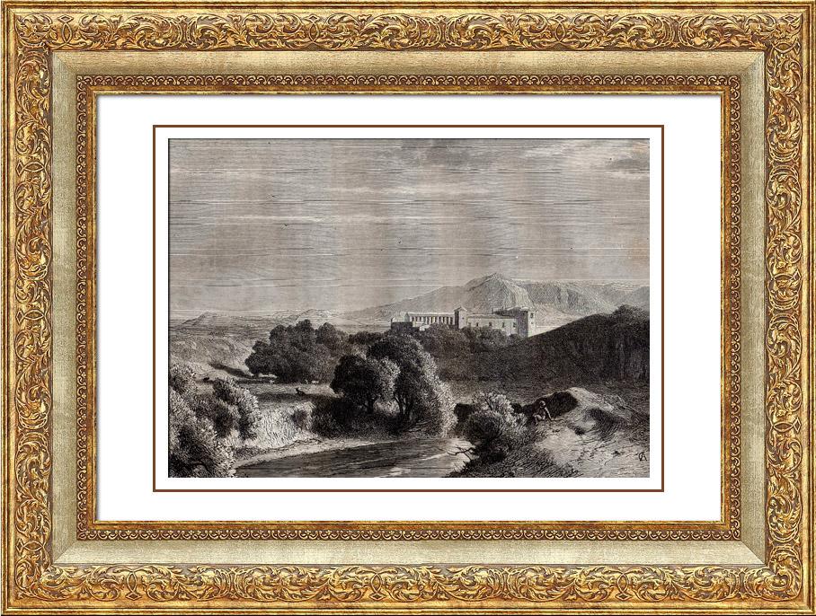 Gravures Anciennes & Dessins | Vue de la Capagne de Rome - Les Bords du Teverone près la Ferme de Lunghezza (Italie) | Gravure sur bois | 1875