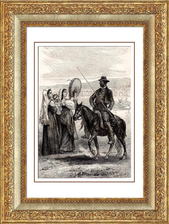 Gravures Anciennes & Dessins   Costume Typique Italien - Rome - Paysan Romain   Gravure sur bois   1875