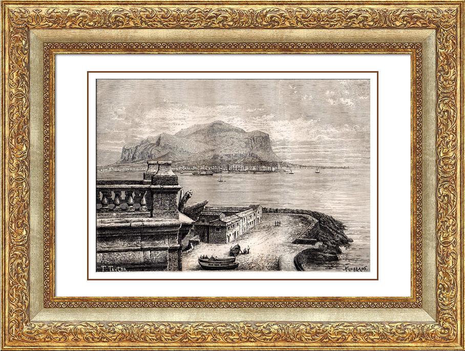 Gravures Anciennes & Dessins   Vue de Palerme - Sicile - Monte Pellegrino (Italie)   Gravure sur bois   1875