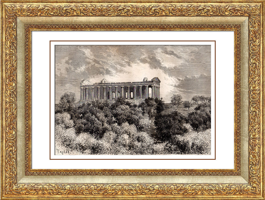 Antique Prints & Drawings   Agrigento - Sicily - Temple of Concordia (Italy)   Wood engraving   1875
