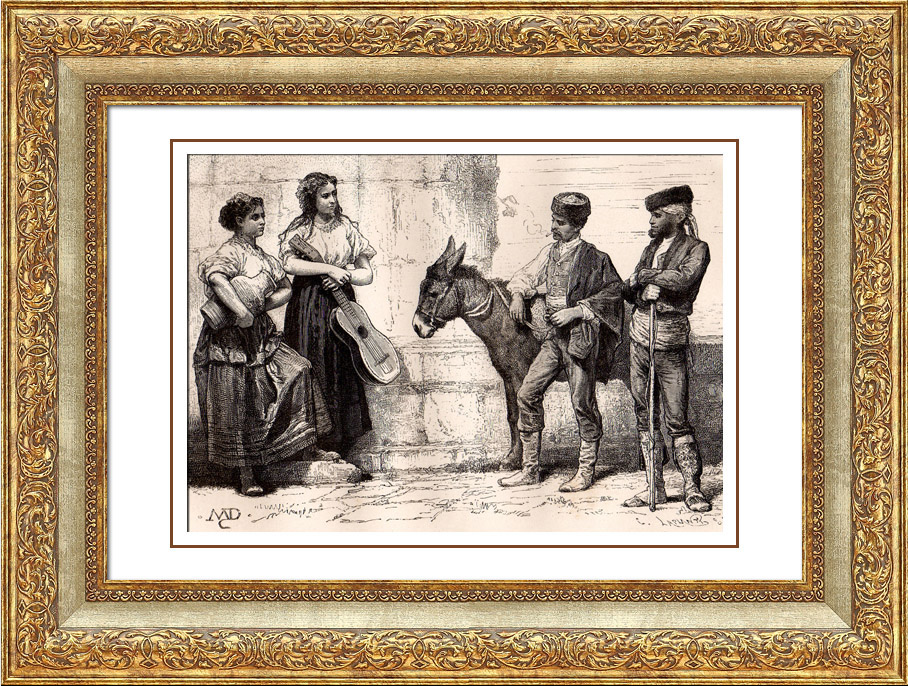 Antique Prints & Drawings   Spanish Typical Costume - Spain - Andalusia - Peasant of Cordova   Wood engraving   1875