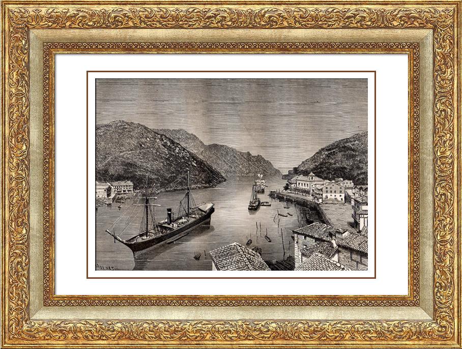 Gravures Anciennes & Dessins | Vue de la Baie de Pasaia - Pasajes - Guipuscoa (Espagne) | Gravure sur bois | 1875