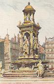 Vue de Lyon - Fontaine des Jacobins - 1885 (France)