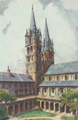 View of Caen - St. Stephen's Church - Abbaye aux Hommes - Cloister - Calvados (France)