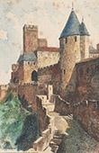 View of Carcassonne - Cité de Carcassonne - Tour de la Justice - Aude (France)